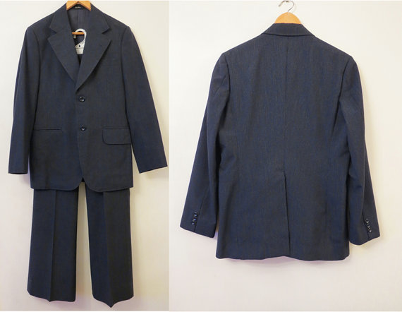 Свадьба - Vintage Men's 70s 2 Piece Dark Navy Suit By Boston