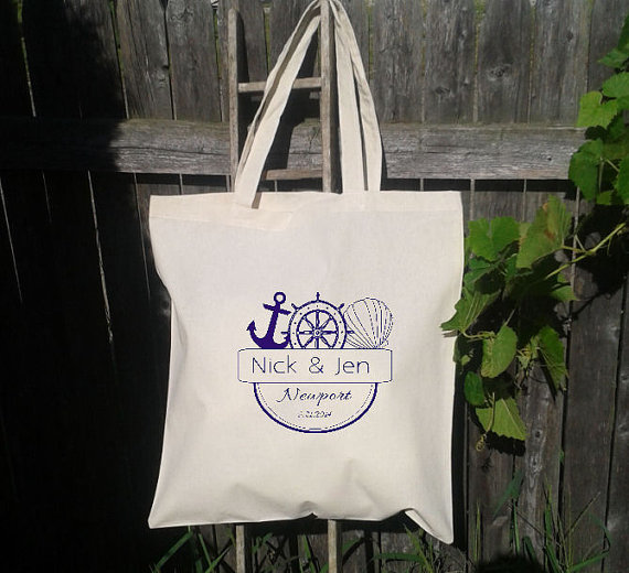 Mariage - 50 Wedding Welcome Bags-Personalized Wedding Tote - Anchor- Wheel- Shell - Beach Theme