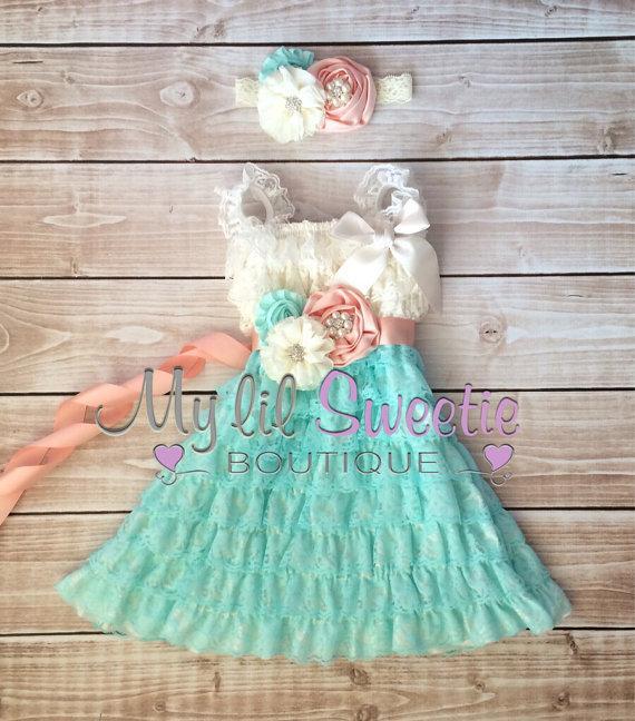 Mariage - Ivory, peach, light mint aqua 3 piece set, dress, sash, headband, baby girl outfit, special occasion dress, toddler dress, girls dress,