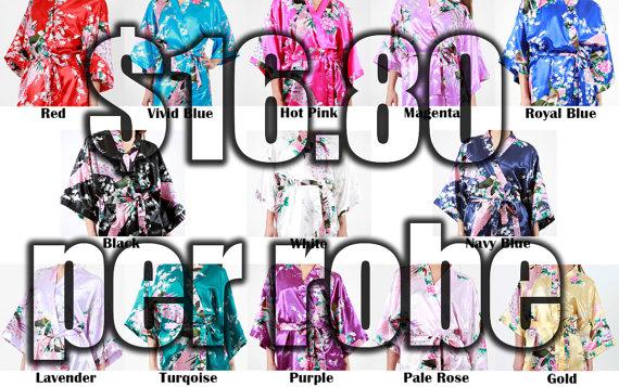 Mariage - Set of 9 Bridesmaid Satin Robes, Kimono Robe, Fast Shipping from New York, Regular and Plus Size Robe