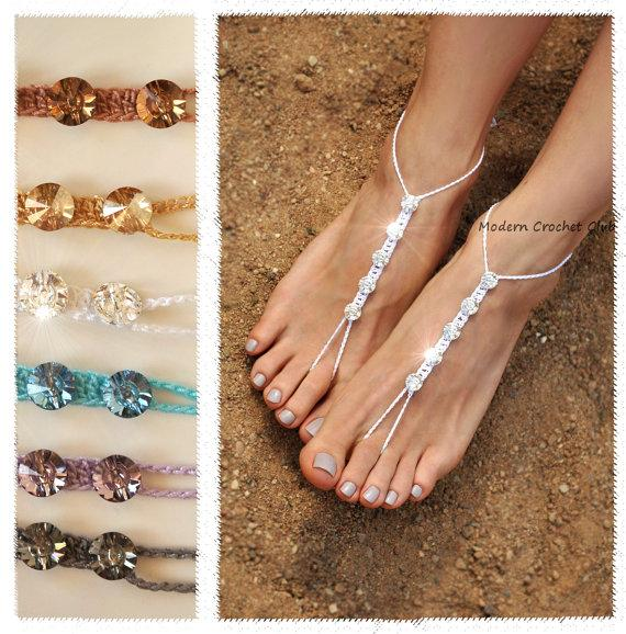 Swarovski Barefoot Sandals Bride Foot Jewelry Beach Wedding Shoes