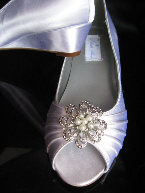 Wedding Shoes Wedge Shoes Bridal Wedges With Crystal Brooch Dyeable Shoes Pic