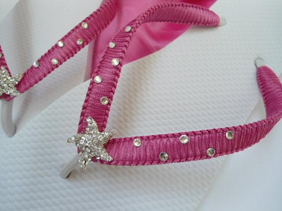 Hochzeit - Beach wedding shoes, Rhinestone flip flops, hot pink flip flops, pink sandals, fucshia flips flops, embellished flip flops with starfish