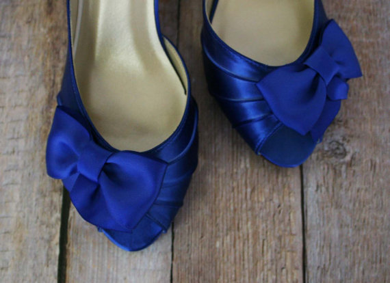 Blue Wedding Shoes -- Royal Blue Kitten Heel Peep Toe Wedding ...