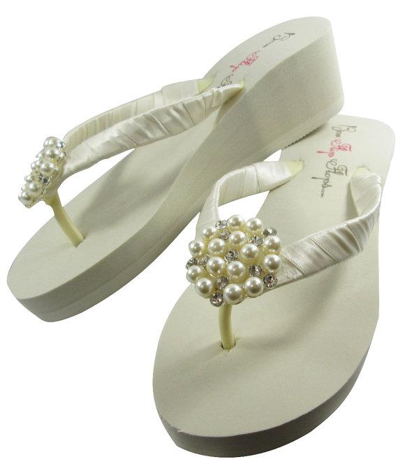 7f88e35961c8 Ivory Pearl Bling Flip Flops Bridal