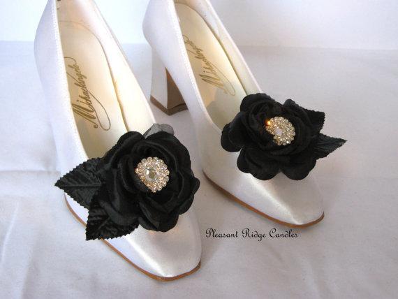 fa71ddeacde2 Black Shoe Clips Wedding Shoe Clips Rhinestone Shoe Clips Rose Shoe Clips  Satin Shoe Clips Cheap Shoe Clips Bride Bridesmaids Color Choice