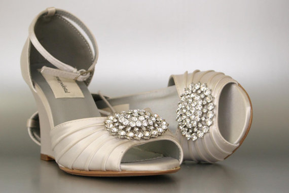 Mariage - Wedding Shoes / Dark Ivory Wedding Shoes / Peeptoe Wedge Shoes / Silver Oval Crystal Cluster / Design Your Own Wedding Shoes