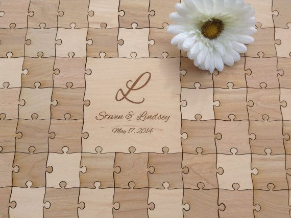 96 Pieces Rustic Wedding Guest Book Puzzle Alternative Mixed Grain