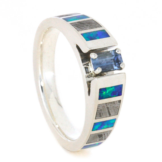 Mariage - Emerald Cut Engagement Ring, Aquamarine Ring With Meteorite And Opal Inlays, Sterling Silver Cathedral Ring