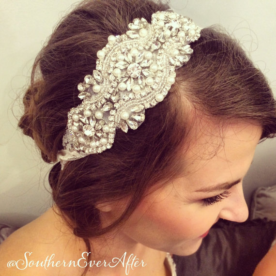 Mariage - Rhinestone and pearl beaded hair piece / AS SEEN in The Not Wedding / Ivory lace / Boho