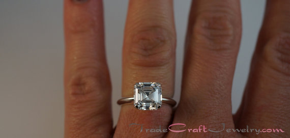 Mariage - Asscher Cut 2.68 Carat 8mm Cubic Zirconia Ring Sterling Silver Solitaire Engagement Ring Promise Ring CZ Ring Faux Diamond Jewelry Sizes 3-9