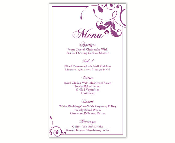 Wedding - Wedding Menu Template DIY Menu Card Template Editable Text Word File Instant Download Eggplant Menu Floral Menu Template Printable 4x7inch