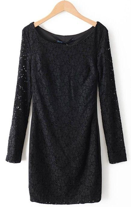 Mariage - Black Hollow Lace Long Sleeve Round Neck Dress - Sheinside.com