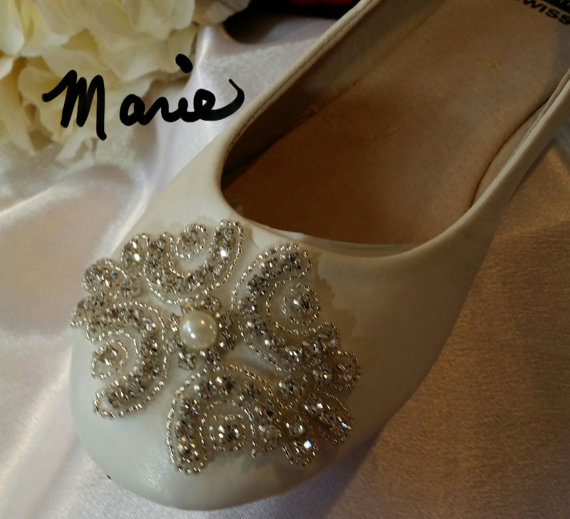 Mariage - Bridal Wedding Shoe Flat  Ballet Slipper CELTIC DESIGN White Ivory Creme Crystals  Pearl On Sale Now, Comfortable