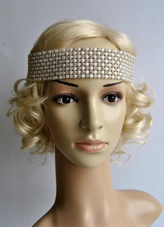 Mariage - Bridal bridesmaid Rhinestone Pearls Headband,Wedding Bridal Headband,Wedding Headpiece,Bridal Headpiece, 1920s Flapper headband