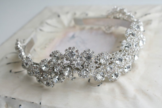 Mariage - Bridal Crystal Headpiece Sparkly Bridal Headband Crown - Wedding Headdress - Ivory Ribbon Rhinestones - Vintage Glamour Wedding