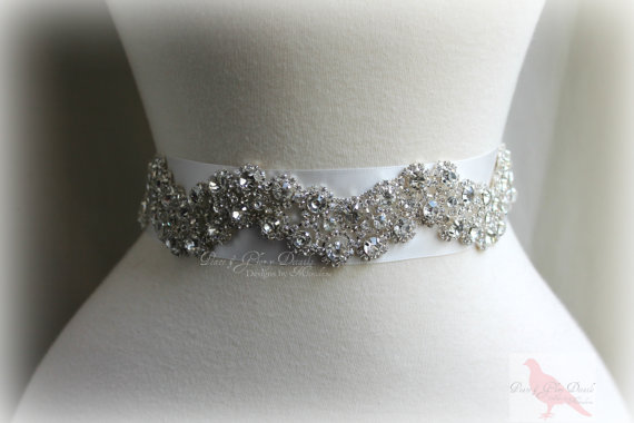 زفاف - Bridal Crystal Sash Belt - Wedding Sash -Glass Rhinestones - Vintage Glamour Wedding