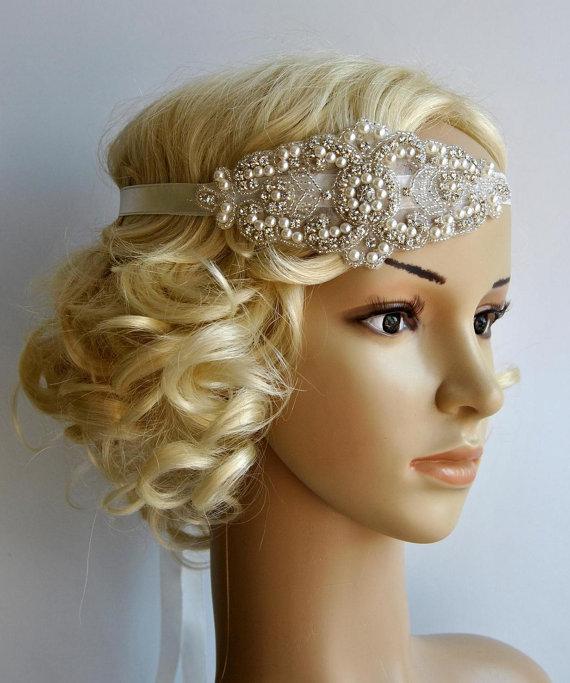 Свадьба - Pearl Rhinestone flapper Gatsby Headband, Wedding bridal Headband,Crystal Headband  Headpiece, Halo Bridal Headpiece, 1920s Flapper headband