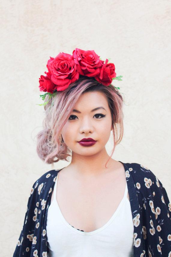 Red Rose Flower Crown Statement Headpiece Rose Headband Floral Crown ... 7b40e1a5fd8