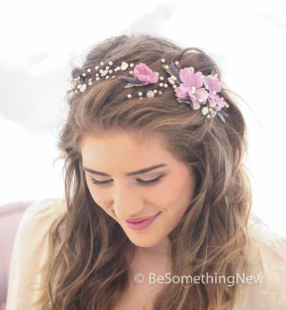Wedding Hair Vine Of Lavender Flowers Pearls And Rhinestones ... 048db790175