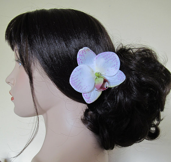 Wedding - Hawaiian Wite - Pink  Orchid  hair Flower clip
