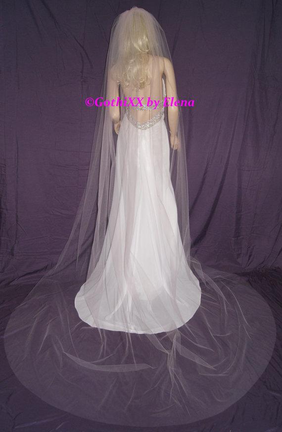 "Свадьба - Wedding Veil Royal Cathedral PINK Silver Burgundy Black Red Purple White Ivory Beige  108"" width 120"" length Cut Edge 19 colors!"