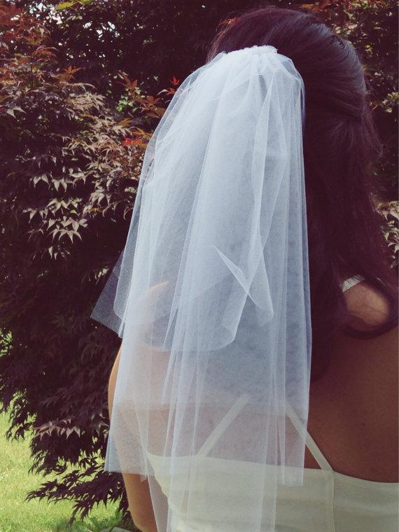 زفاف - Bachelorette veil- bachelorette party, white veil, bridal shower veil