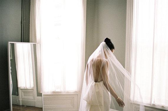 زفاف - Floor length Wedding Bridal Veil 72 long inches white, ivory, Wedding veil Long bridal Veil floor length veil bridal veil cut edge veil
