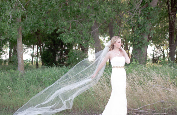 Mariage - CHAPEL length One Layer Tulle Wedding Veil