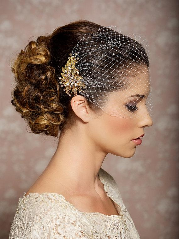 Mariage - Bridal Veil and Gold Bridal Comb, Bandeau Birdcage Veil, Gold Blusher Bird Cage Veil - QUICK SHIPPER - Detachable gold crystal comb