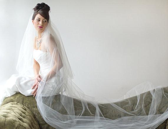Свадьба - Bridal Veil, Traditional Veil,  Two Layer Cathedral Veil, Wedding Veil, Wedding Hair Accessory, Long Veil