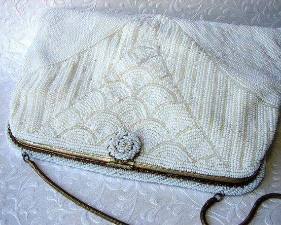 Wedding - Vintage White Micro Beaded Bridal Purse Wedding Handbag Handmade French or Belgian Style Art Deco Design Gold Frame Chain Formal Evening