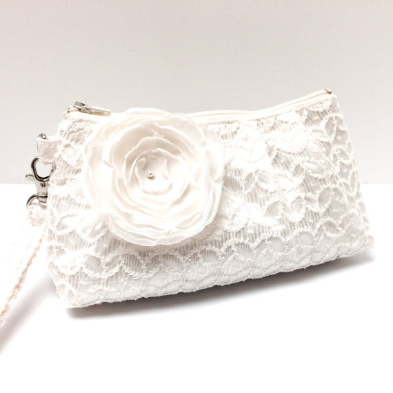 Mariage - Bridal Bridesmaid Clutch Purse Rectangular Wristlet - Geometric Lace Overlay on Ivory Cream Satin with Flower Brooch