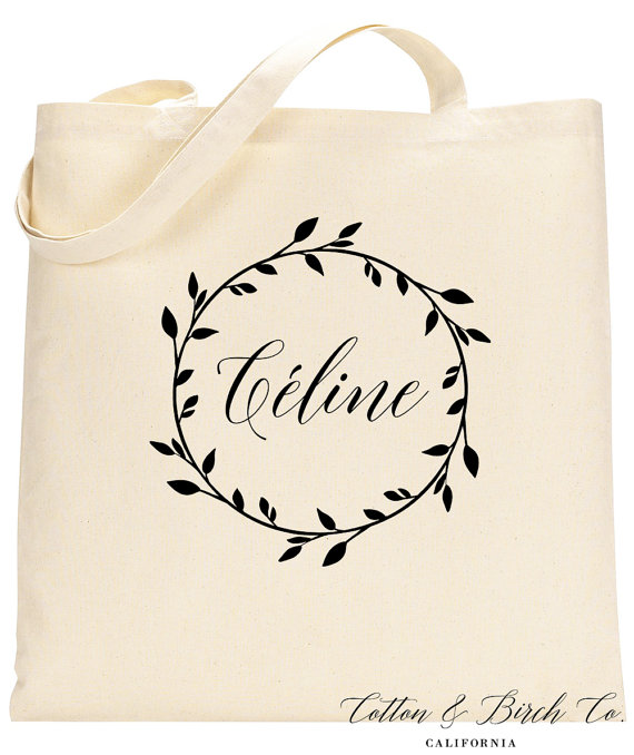 Personalized Tote Bag Wedding Wreath Totes Bridal Party Gifts Bridesmaid Cew01