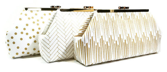 Mariage - Gold and White Bridesmaid Clutches Clasp Clutches Gatsby Wedding - Choose Your Fabrics Metallic Gold Black White Set of 5