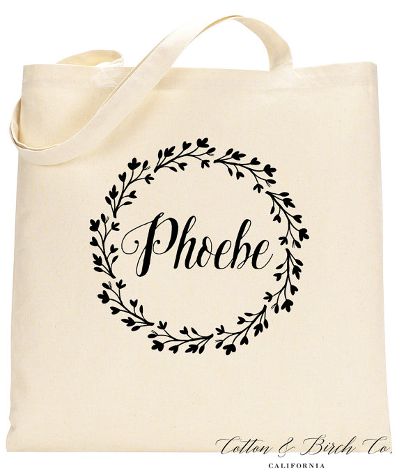 personalized tote bag personalized wedding wreath tote bag