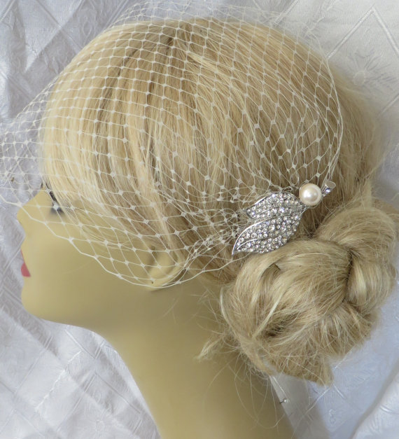 Wedding - Birdcage Veil and a Bridal Hair Comb (2 Items),bridal veil,Weddings, Jewelry, Sterling Silver, Rinestone, Crystal,pearl