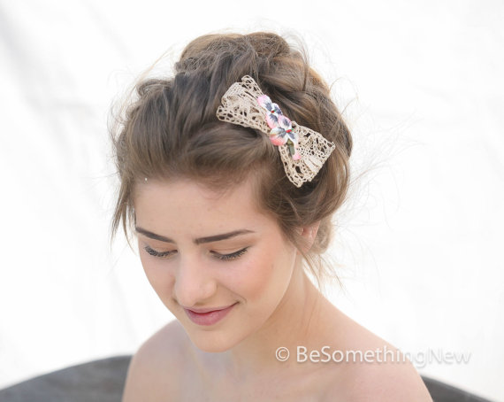Wedding - Vintage Ivory Lace Bow Hair Clip with Vintage Velvet Pansies, Woman Hair Accessories, Hair Bows, Lace Bow, Hair Clip, Lace Hair Bow, Wedding