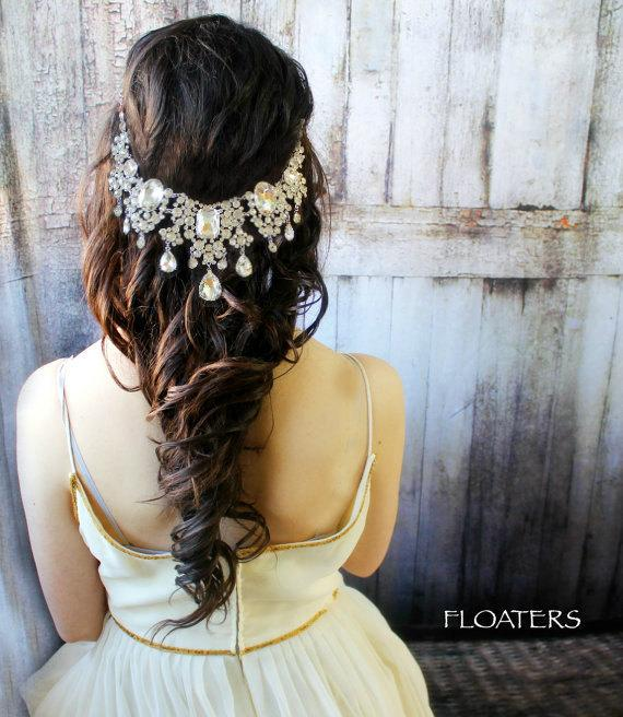 Wedding - Bridal Headpiece, Wedding Headpiece, Bridal Hair Accessory Head Chain, Wedding Headband