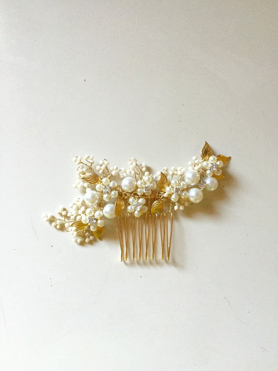 Wedding - Ivory and Gold Bridal Hair Comb Delicate Hair comb Style HC07