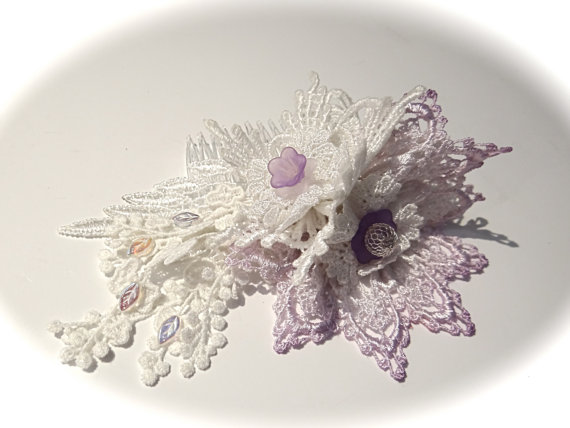 Wedding - Lace Bridal Hairpiece Victorian Headpiece White & Lavender Hair Comb