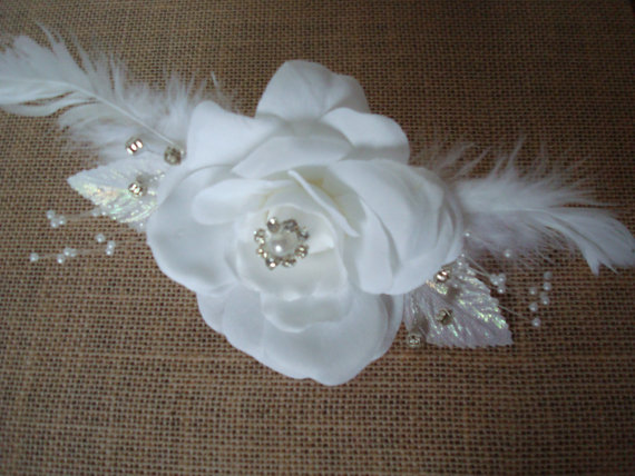 Wedding - White Velvet Rose And Feather Clip And Brooch-Fascinator-Diamonds-Pearls-Wedding-Prom-Parties-Feathers.