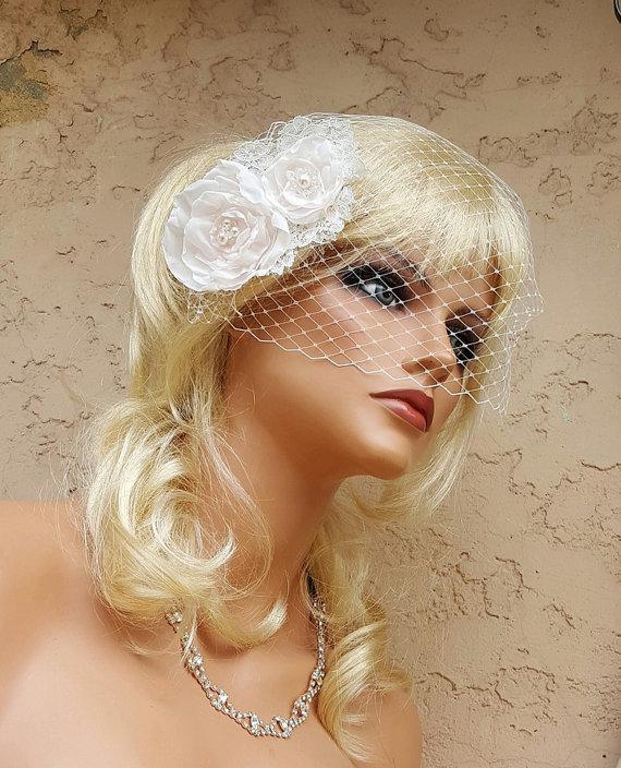 Wedding - Accessories,Fascinator, Wedding Hair Clip, Bridal Comb, Bridal Hair Accessory, Birdcage Veil, Bridal Veil, Diamond White,Off White