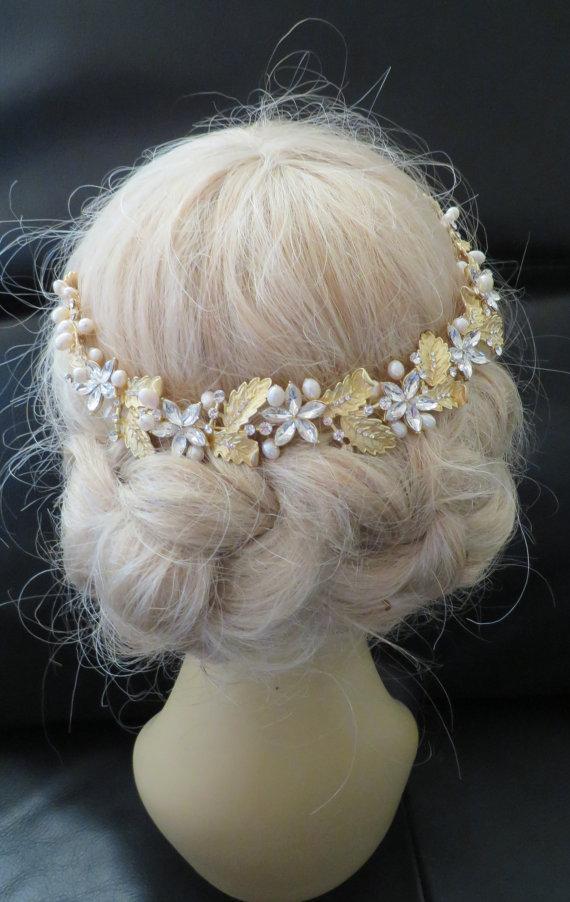 زفاف - Headbands Rhinestone Hair Jewelry Crystal Gold Plated  Natural Freshwater Pearl  Bridal  Wedding Accessories Decorative Combs headpieces