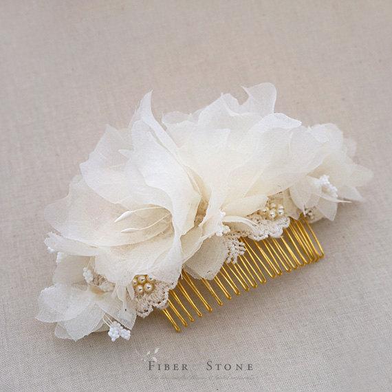 Свадьба - Silk Bridal Headpiece, Wedding Headpiece, Bridal Hair Piece, Bridal HairPiece, Gold Bridal Hair Comb, Swarovski Pearl Flower Bridal Comb