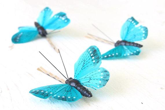 زفاف - Something Blue Bridal Hair Clip, Butterfly Wedding Hair Accessory Comb Hairpiece Pin, 3 Turquoise