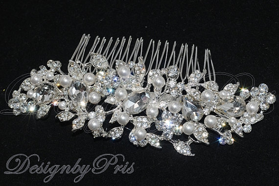 زفاف - Bridal Accessories Wedding Hair Accessories Bridal Rhinestone Pearls Comb NEW -  Bridal Crystal and Swarovski Pearls Hair Comb (S-6)