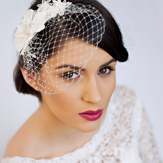 زفاف - Small Birdcage Veil with Cherry Blossom in Ivory - Bridal Hair Piece - Wedding Hair Piece