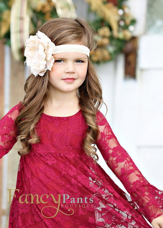 Mariage - Burgandy lace dress,  Flower Girl Dress - Boho girl dresses- - Long sleeve lace dress-Toddler Dress- Birthday, Christmas dress Burgandy