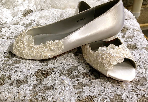 Mariage - Victorian Style Low Heel Bridal Open Toe Pump Custom Beaded Hand Made Pearl Crystal Lace Detail Flat Wedding Shoe Ballet